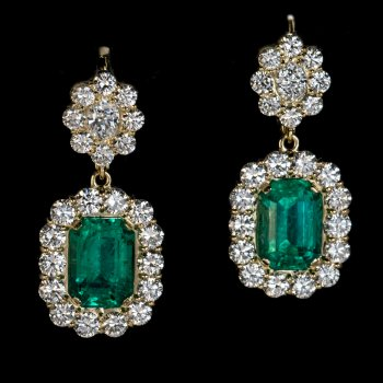 Rare Russian emerald earrings
