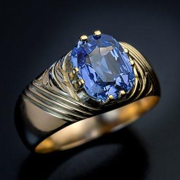 antique 2.5 ct sapphire unisex ring