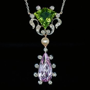 Art Nouveau antique peridot pink topaz pearl and diamond pendant necklace