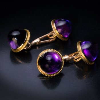 antique amethyst cuff links