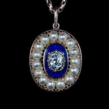 Antique Georgian era diamond, blue enamel and pearl pendant