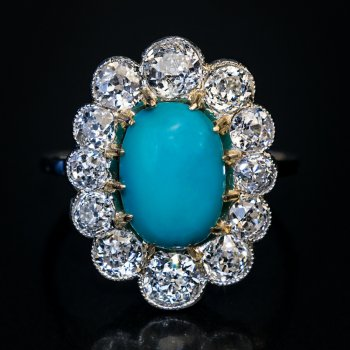 Vintage Persian turquoise diamond and platinum ring