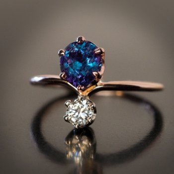 1.34 ct Russian alexandrite ring
