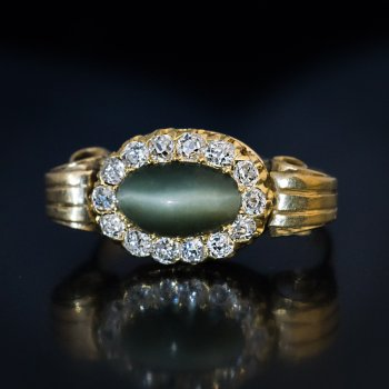 cat's eye quartz and diamond antique gold ring