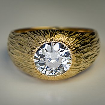1.24 ct old European cut diamond gold ring