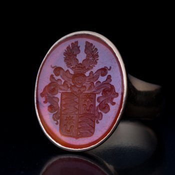 antique carnelian intaglio ring with a noble family coat of arms