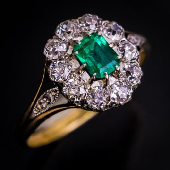 antique emerald diamond engagement ring