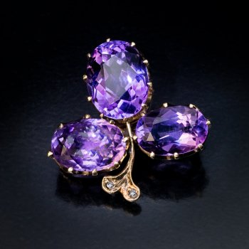 antique Russian amethyst brooch pin