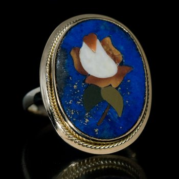 antique Florentine mosaic pietra dura ring
