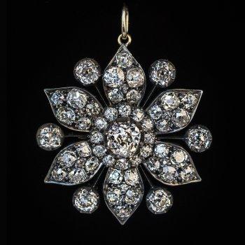 antique Victorian old mine cut diamond pendant necklace