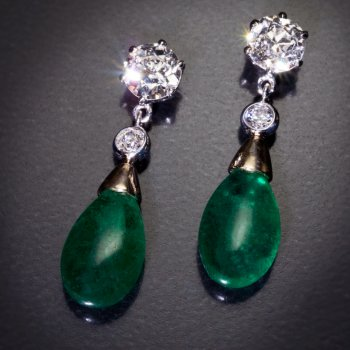 Drop shaped emerald and diamond earrings