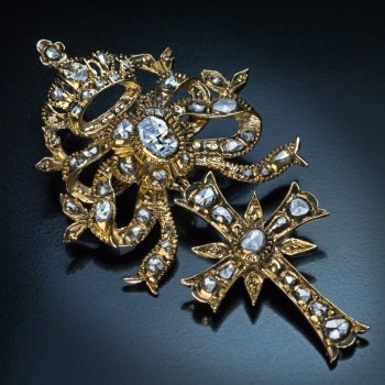 18th century diamond and gold cross with crown pendant