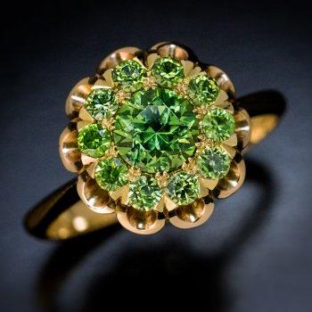Russian demantoid cluster ring