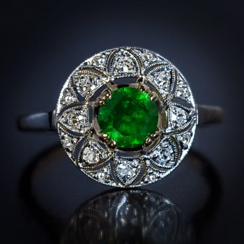 vintage Art Deco demantoid and diamond ring