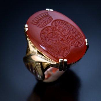 vintage carnelian intaglio signet armorial ring