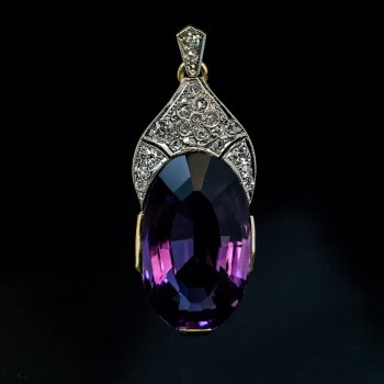 Art Deco jewelry - amethyst and diamond necklace