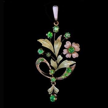 Art Nouveau jewelry - gold and demantoid pendant necklace