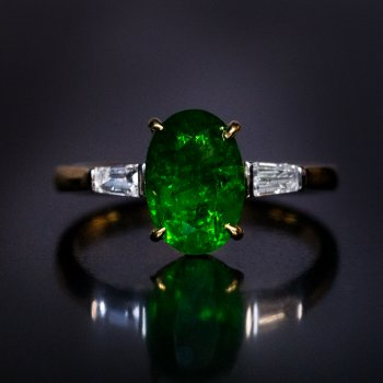 Russian 2 carat demantoid engagement ring