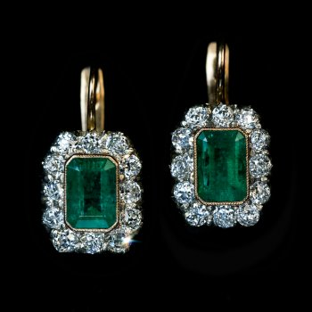 antique emerald diamond earrings