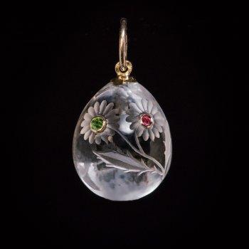 antique rock crystal egg pendant