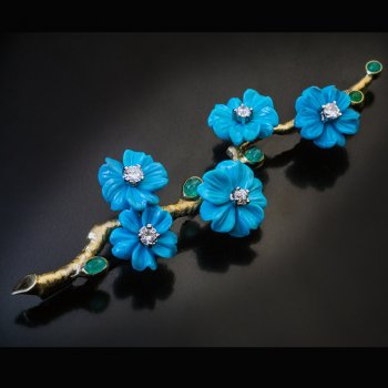 vintage turquoise diamond emerald blooming branch brooch