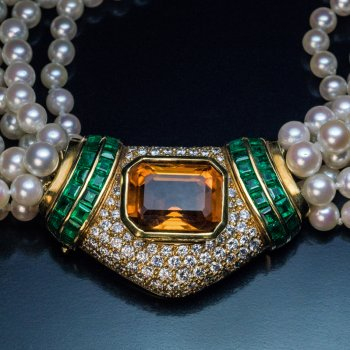 vintage pearl diamond citrine emerald gold necklace