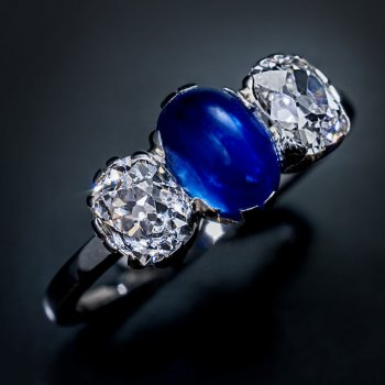vintage three stone sapphire diamond engagement ring