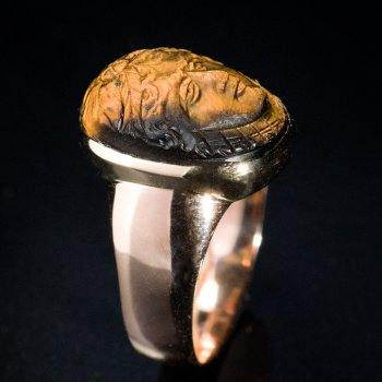 antique tiger eye cameo ring
