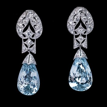 Art Deco jewelry - vintage aquamarine and diamond earrings