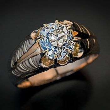 antique 1.70 ct old cushion cut diamond Art Nouveau ring