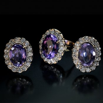 vintage amethyst diamond cluster earrings and ring
