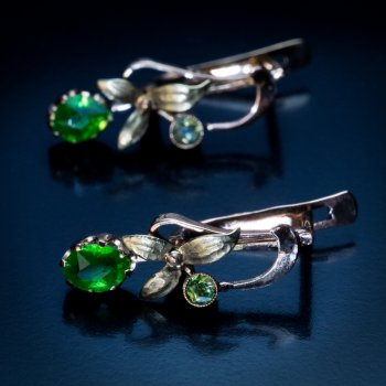 demantoid Art Nouveau earrings