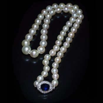 vintage pearl necklace with sapphire clasp