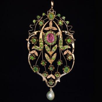 Art Nouveau demantoid tourmaline pearl gold necklace