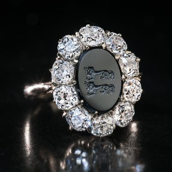 antique intaglio diamond ring