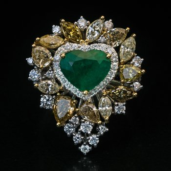emerald and diamond heart shaped ring