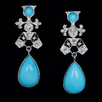 Art Deco vintage turquoise and diamond earrings