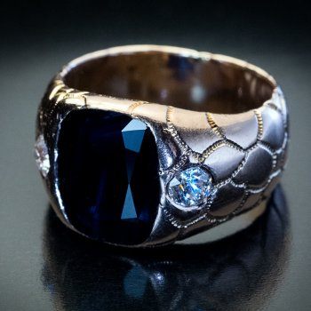 antique sapphire and diamond unisex ring