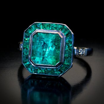 Art Deco vintage emerald engagement ring