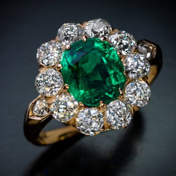 Colombian emerald and diamond antique engagement ring