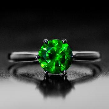Russian demantoid engagement ring