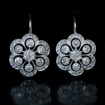 Antique Edwardian diamond platinum earrings