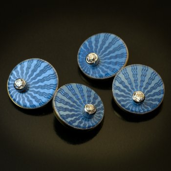 Faberge guilloche enamel, diamond, gold cufflinks