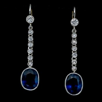 Art Deco vintage sapphire and diamond earrings