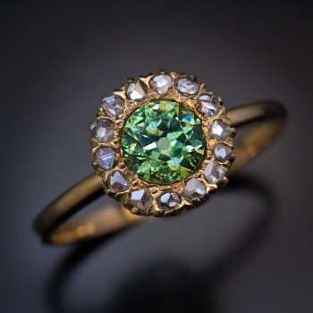 antique demantoid and rose cut diamond ring