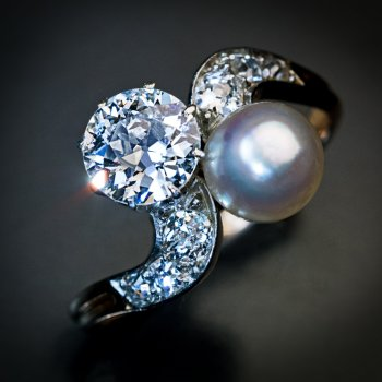 antique diamond and pearl crossover ring