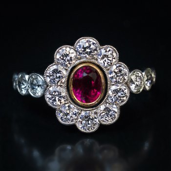 Antique ruby diamond platinum engagement ring - Edwardian jewelry