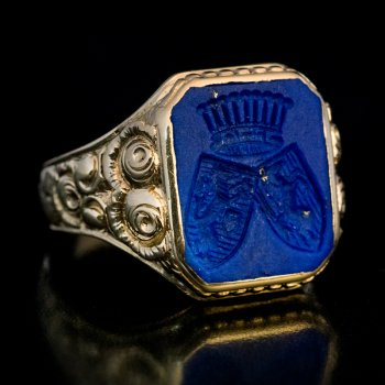antique gold signet ring with a lapis lazuli armorial intaglio