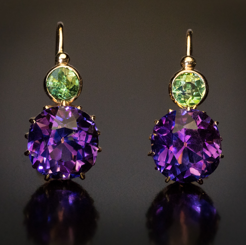 Siberian amethyst demantoid earrings