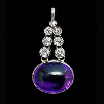 Art Deco vintage amethyst diamond and platinum pendant